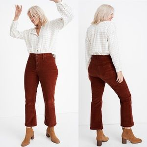New Madewell Cali Demi Boot Jeans Corduroy Size 30
